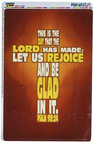Graphics and More Bible Verse Cross Psalm Religion Catholic This is The Day The Lord Mag-Neato's Refrigerator Vinyl Puzzle Magnet Set by Graphics and More