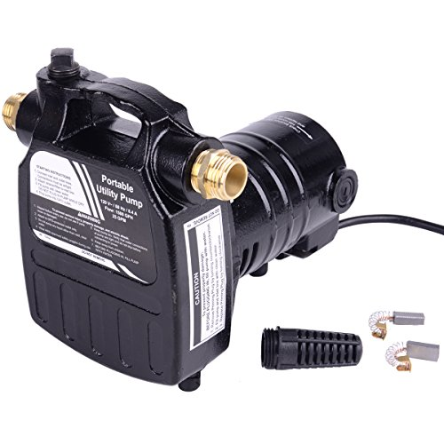 Portable Utility Pump - Trupow 1/2HP 1450GPH 115-Volt Cast Iron Portable Electric Power Utility Transfer Water Pump with Suction Strainer and Kits