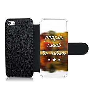 Funda carcasa de cuero para Apple iPhone 5C frase People need to relax