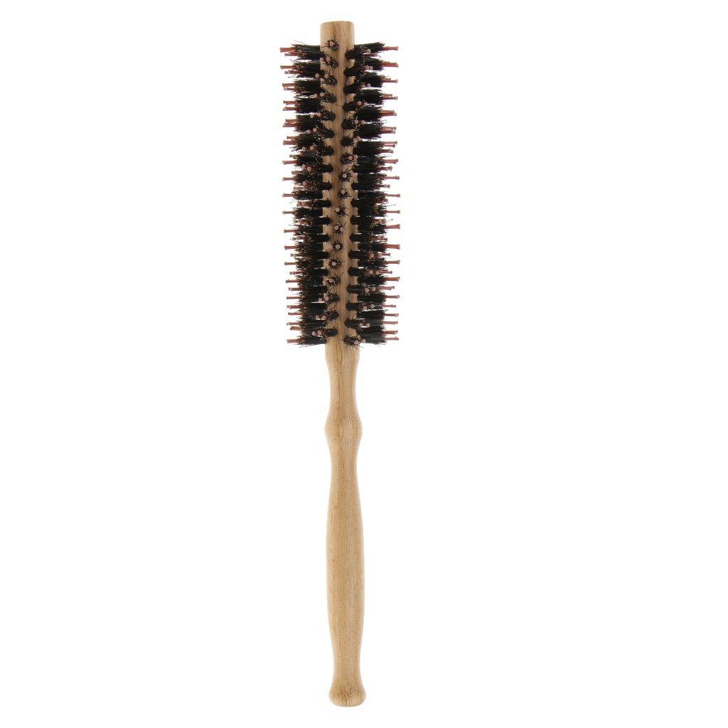 Baoblaze Brosse Ronde en Bois Poignée pour Lisser Cheveux Peigne Anti-statique 23, 5 x 4 cm