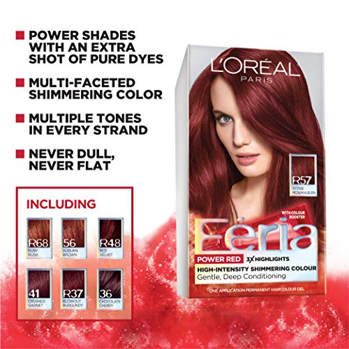 L'Oreal Paris Feria Multi-Faceted Shimmering Permanent Hair Color, 41 Crushed Garnet, Pack of 2 Hair Dye