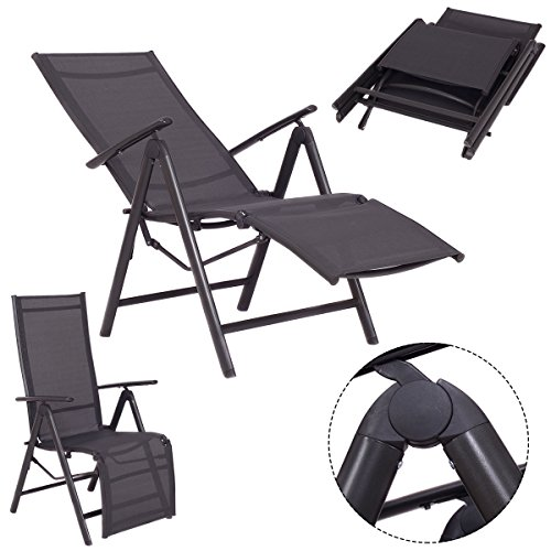 Adjustable Chair Pool Patio Furniture Recliner Outdoor Lounge Beach Garden (Rattan Outdoor Furniture Perth)