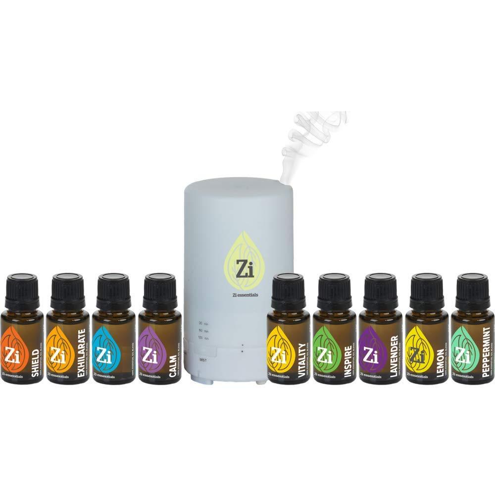 Zi Essentials Diffuser Kits - Home Aromatherapy Essential Oils Set (Diffuser + 9 Oils)