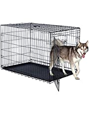 Double Door Folding Dog Crate - Portable Large 42-Inch Metal Wire Kennel, Plastic Leak-Proof Tray, Slide Bolt Latches, and Carry Handle by Pet Trex