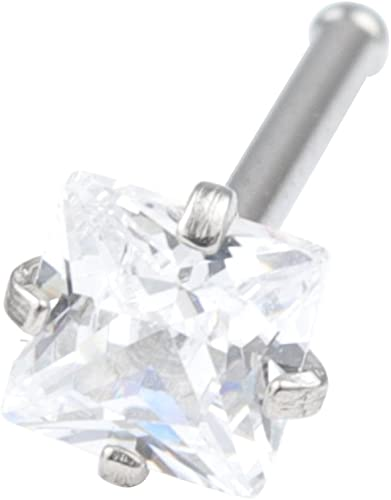 20G 3mm Clear Square Diamond CZ Nose Screw Studs Rings Piercing Jewelry Surgical Steel