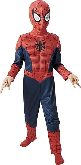 Marvel - Disfraz de Spiderman para niño, pecho musculoso y máscara, infantil 3-4 años (Rubies 887697-S)