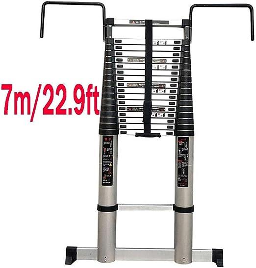 Escaleras plegables aluminio Escalera Telescópica: Con Gancho Desmontable (30 Cm), Escalera De Extensión Telescópica Plegable De Aleación De Aluminio De 7 M, 22.9 Pies (capacidad De Carga De 330 Lb) t: Amazon.es: Hogar