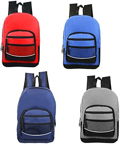 17 Inch Wholesale Classic Sport Backpacks in 4 Assorted Colors - Bulk Case of 24 Bookbags