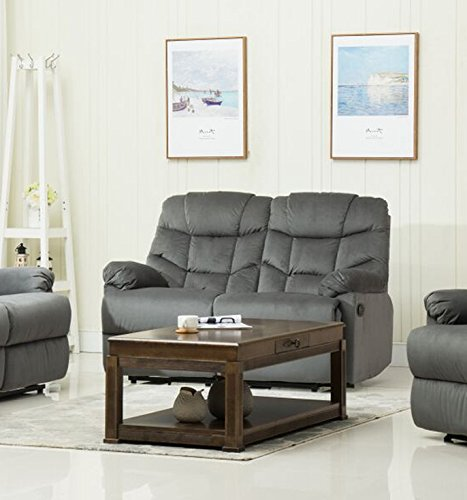 Container Furniture Direct S6035-L Albert Velvet Upholstered Gliding Reclining Loveseat, Grey