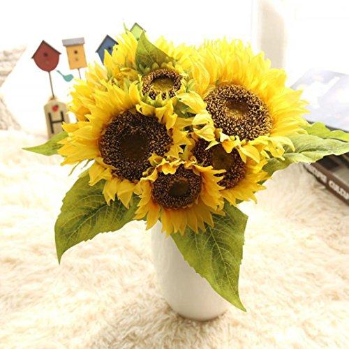 Sunward 2017 Fashion New Fake Silk Artificial 7 Heads Sunflower Flower Bouquet Floral Garden Home Decor ()
