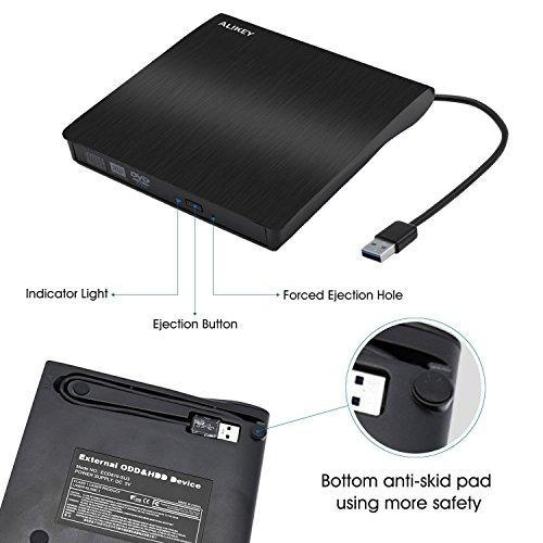 External DVD Drive,Lastest USB 3.0 Slim Portable CD/DVD-RW Rewriter Burner Drive Laptop Notebook PC Desktop Computer Support Windows/Vista/7/8.1/10, Mac OSX (Black) by ALIKEY (Image #4)