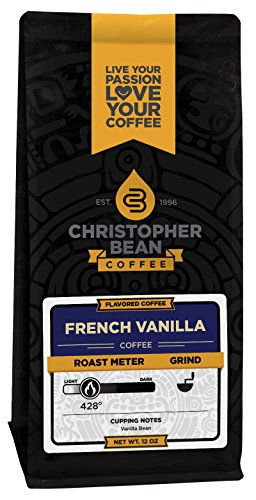 Christopher Bean Coffee Flavored Decaffeinated Ground Coffee, French Vanilla, 12 Ounce