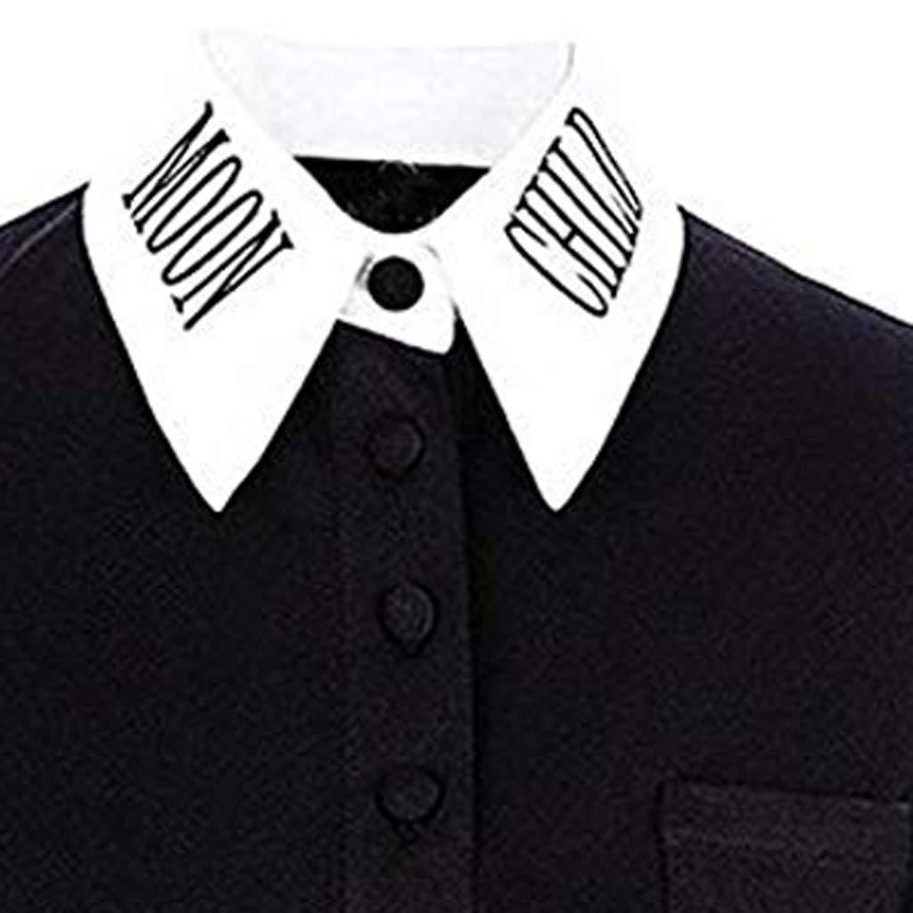 Frauen Mond Gothic Punk Schwarz V-Ausschnitt Button-Down Top Kurzarm T-Shirts TOPSELD T Shirt Damen