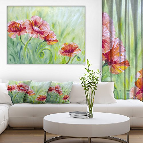 Pale Red Poppies Floral Art Canvas Print by Design Art