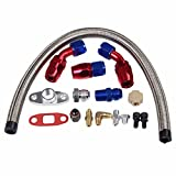 T3 T4 Turbo Oil Return + T3 T4 T04E Braided Feed Line Complete KIit For Honda