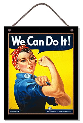 Gigglewick Gifts Vintage Style Wooden Hanging War Poster Plaque Sign We Can Do It Kitchen -