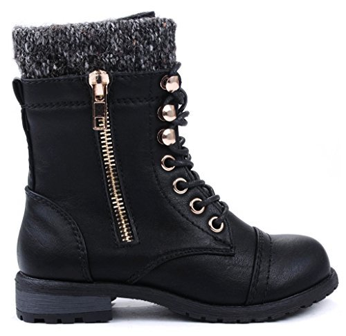 JJF Shoes Mango-31 Kids Black Round Toe Military Lace Up Knit Ankle Cuff Low Heel Combat Boots-4