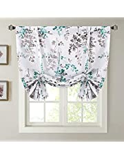Blackout Tie Up Curtain - Thermal Insulated Balloon Curtain for Small Window Adjustable Kitchen Tie Up Curtain (Rod Pocket Panel, 42 inches W x 63 inches L)
