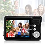 HD Mini Digital Cameras for Kids Teens Beginners,Point and Shoot Digital Video Cameras for Birthday Christmas (Black)
