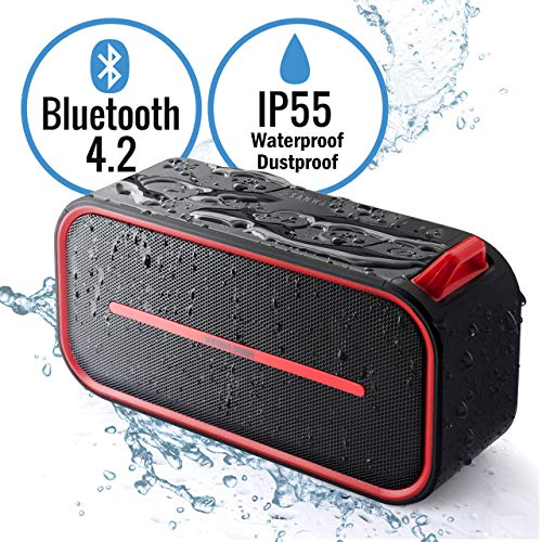 SANWA Japan Brand Portable Wireless Bluetooth Speaker with Built-in Mic, Rich Bass, AUX Input, Micro SD Card Slot, Bluetooth 4.2, IP55 Water Resistance, for Outdoor Travel Home Shower Party, Red