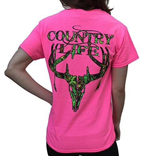 Country Life Camo Deer Skull Pink Short Sleeve Shirt (2X-Large) -