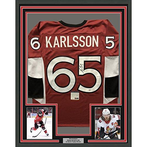 Framed Autographed/Signed Erik Karlsson 33x42 Ottawa Red Hockey Jersey PSA/DNA COA