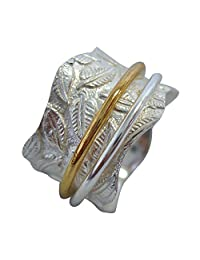 "Energy Stone ""FORAGE"" Raised Petite Leaves Meditation Spinning Ring (Style SR19)"