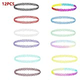 MGQFY 12 PCS a Set Chokers Necklaces for Women Girls,Choker Necklace Gothic Henna Tattoo Stretch Elastic Plastic Jewelry Value Pack