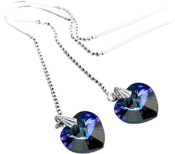 Boucles d'oreilles traversantes/Argent 925 avec cristaux Swarovski ...