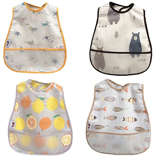 (Baby Waterproof Bib with Crumb Catcher Pocket,4 Pack Comfortable Soft Adjustable Snaps Feeding Bibs For Infants and Toddlers)