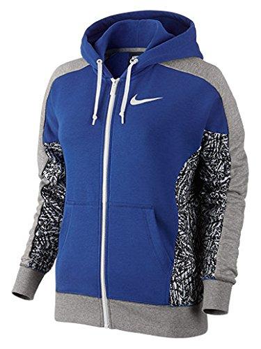 Nike Women's Club AOP Full Zip Hoodie Game Royal/Dark Grey Heather/White Large
