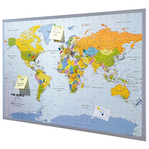 Pinboard World Map or Map of Europe 90 x 60 cm, Includes 12 Flag pins -...