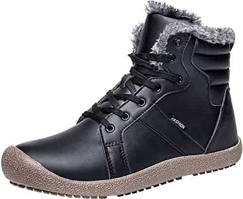 23f296a347f83 L-RUN Womens Mens Snow Boots Winter Fur Boots Waterproof Ankle Bootie  Casual Shoes