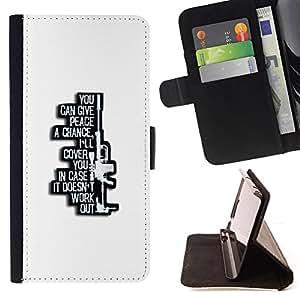 BullDog Case - FOR/HTC One M7 / - / peace war sniper gun machine poster /- Monedero de cuero de la PU Llevar cubierta de la caja con el ID Credit Card Slots Flip funda de cuer