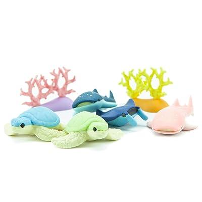 Iwako Deep Sea Animals Turtle Shark Stingray Coral Reef Japanese Erasers: Toys & Games
