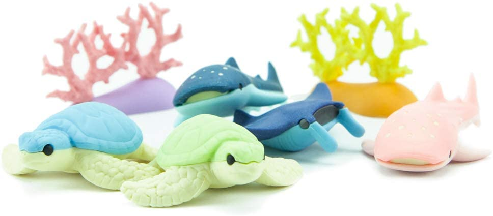 Iwako Deep Sea Animals Turtle Shark Stingray Coral Reef Japanese Erasers