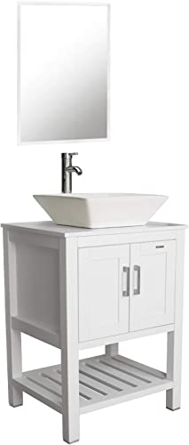 eclife 24 White Bathroom Vanity Sink Combo Modern Stand Pedestal W/Square White Ceramic Vessel Sink