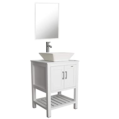 "eclife 24"" White Bathroom Vanity Sink Combo Modern Stand Pedestal W/Square White Ceramic Vessel Sink, Chrome Bathroom Solid Brass Faucet and Pop Up Drain Combo, W/Mirror (A07B06W)"