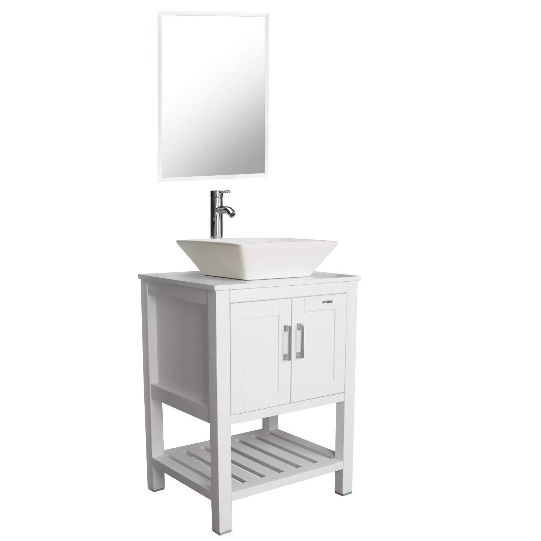 Eclife 24 MDF Modern Bathroom Vanity Cabinet Set Stand Pedestal Storage Cabinet with Mirror B06