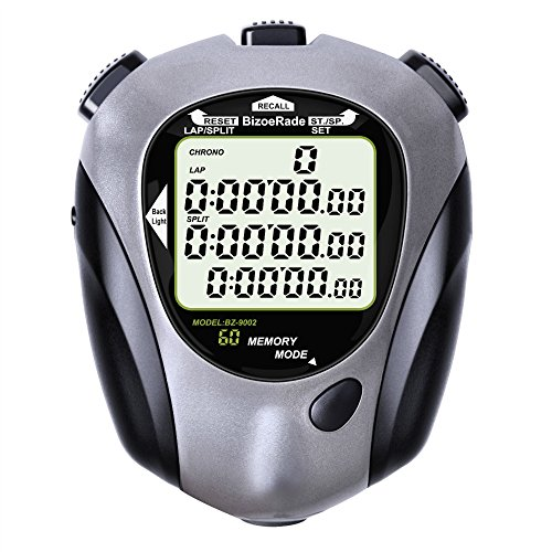- BizoeRade Professional Sports Digital Stopwatch 60 Lap Memory Stopwatches Countdown Timer with Backlight, Clock, Metronome, Waterproof for Coach,Referee,Training,Running