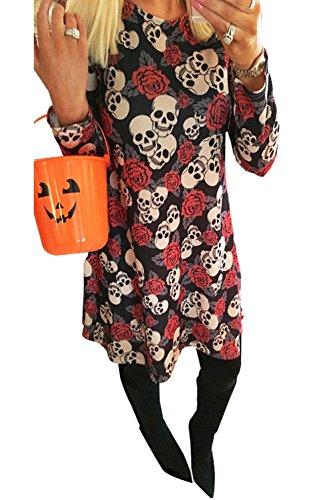 Clearoy Women's Halloween Pumpkin Spider Skeleton Print Pullover