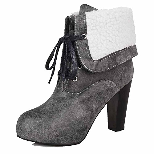Round AllhqFashion Womens Toe top Soft Gray Lace up Heels Leather Boots Low High Closed qHBTqwpUZ