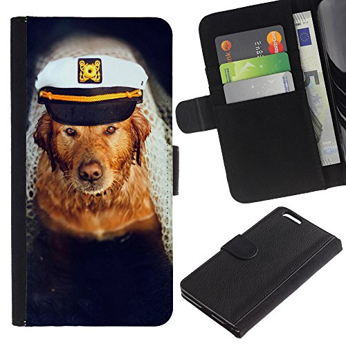 EuroCase - Apple Iphone 6 PLUS 5.5 - golden retriever captain dog sea boat - Cuero PU Delgado caso cubierta Shell Armor Funda Case Cover