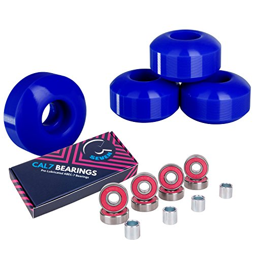 Cal 7 Skateboard Wheels and Bearings | 52mm 99A Wheel Set Combo (Blue) (Best Skateboard Wheel Size)