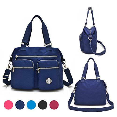 dba00c6346aa Nylon Crossbody Tote Handbags for Women Leisure Lightweight Messenger Bag  Shoulder Bag with Lots of Pockets (Deep Blue)
