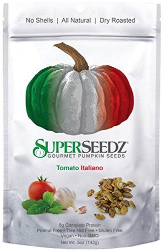 Super Seedz - Gourmet Roasted Pumpkin Seeds, 5 oz Package (Pack of 2) Tomato Italiano - Non Gmo, Vegan and Gluten Free Snacks