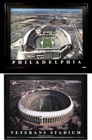 Framed Philadelphia Eagles Veterans Stadium and Lincoln Financial Field - SET OF 2
