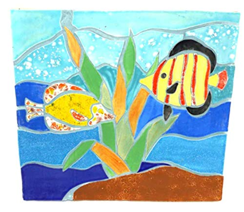 Vintage Handmade Ceramic Tile Mosaic Folk Art Tropical Fish Ocean Scene