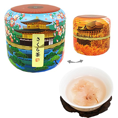 Japanese tin KYOTO container Sakura cha Cherry Blossam tea by Honjien