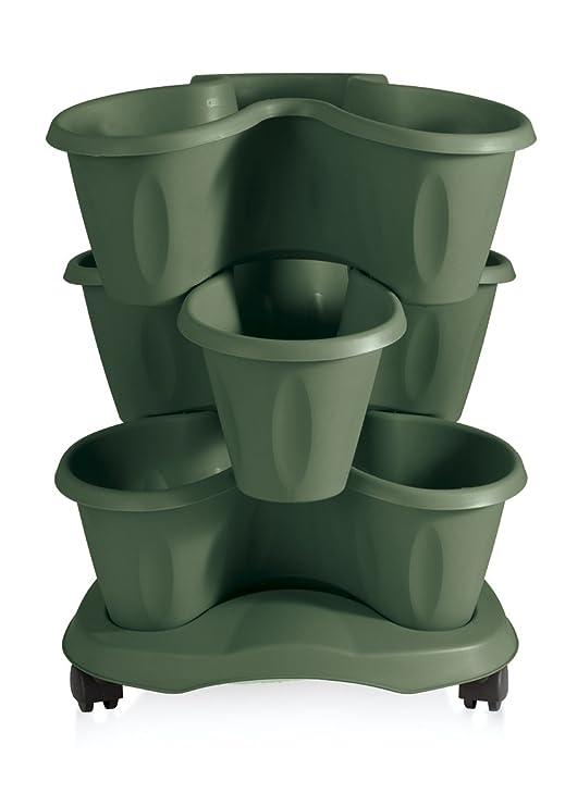 Bama Robex Trifoglio 3 piezas Maceta y platillo con ruedas, verde ...
